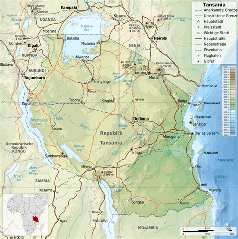 landkarte tansania topographische karte weltkartecom