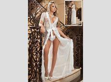 Wholesale Sexy Ivory Fur Trim Glam Night Robe