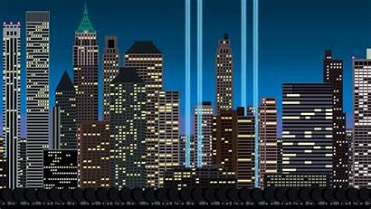 York Skyline Gifs Pixelated Pixel Gotham Ciudades