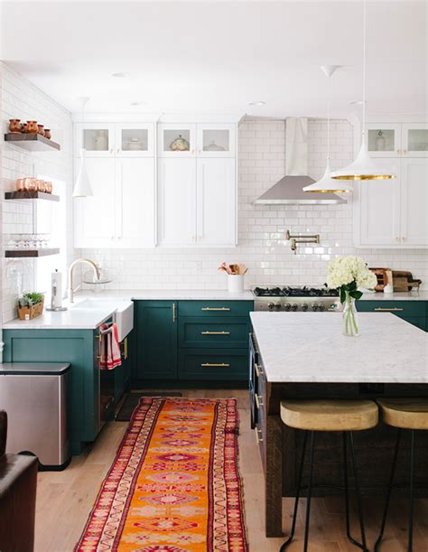 green and white kitchen cabinets bored of white kitchens discover the cabinet color 368 | 2 green kitchens AliHyneck BeckyKimballPhoto blue green cabinetry