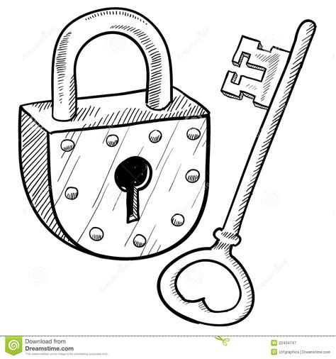 dead bolt retro slot en sleutel vector illustratie illustratie