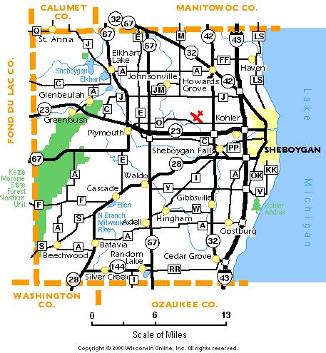 Sheboygan County, Wisconsin: Map