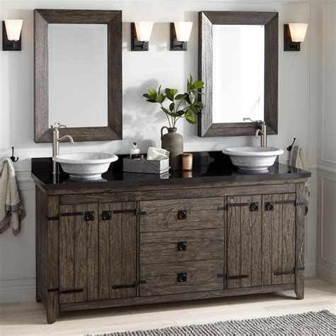 Two Vanities In Bathroom - 72 quot vessel sink vanity rustic brown bathroom
