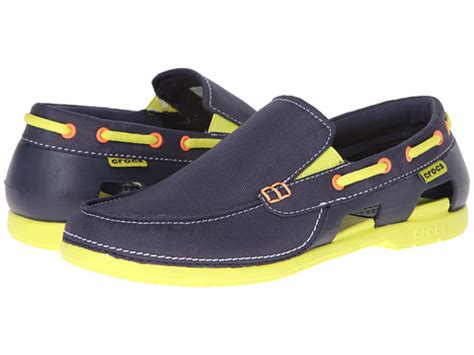 Boat Brands Alphabetical by Crocs Line Boat Slip Navy Citrus Zappos Free