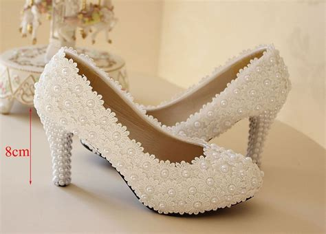 White Ivory Lace Flower Bridal High Heel Wedding Shoes Low