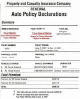 personal automobile insurance declaration page photos
