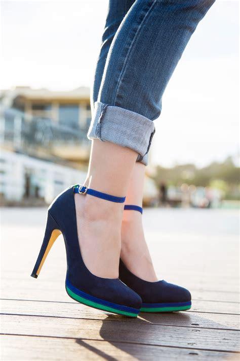 blue ankle strap heels  heel