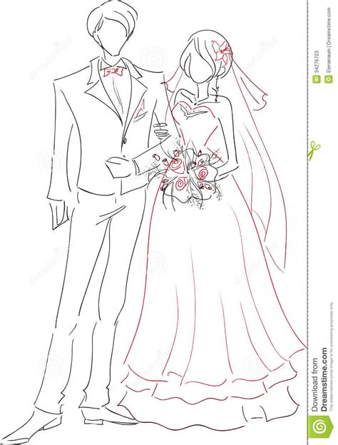 wedding couple sketch stock  image