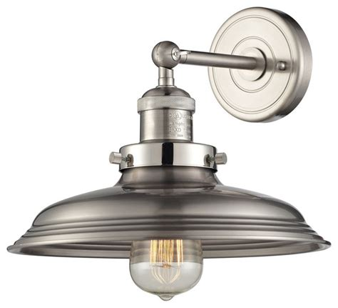 newberry 1 light sconce in satin nickel farmhouse wall