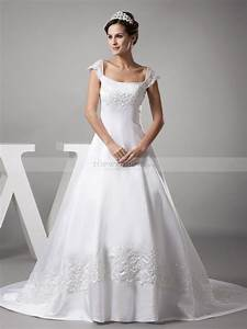 cap sleeved princess cut beaded satin wedding gown With princess cut wedding dress