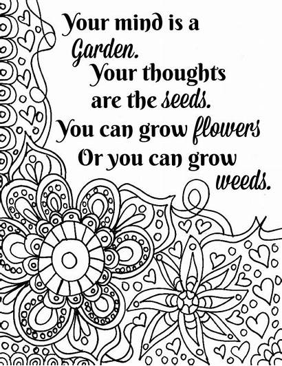 Coloring Pages Printable Quote Flower Inspirational Teens