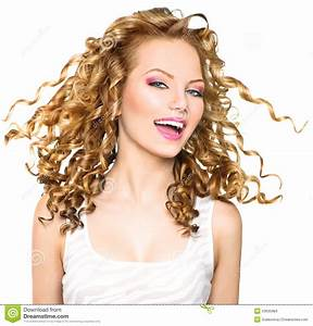 Beauty Model Girl With Blonde Curly Hair Stock Photo