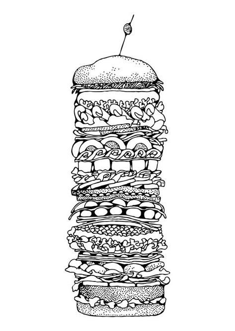 coloring page hamburger  printable coloring pages img