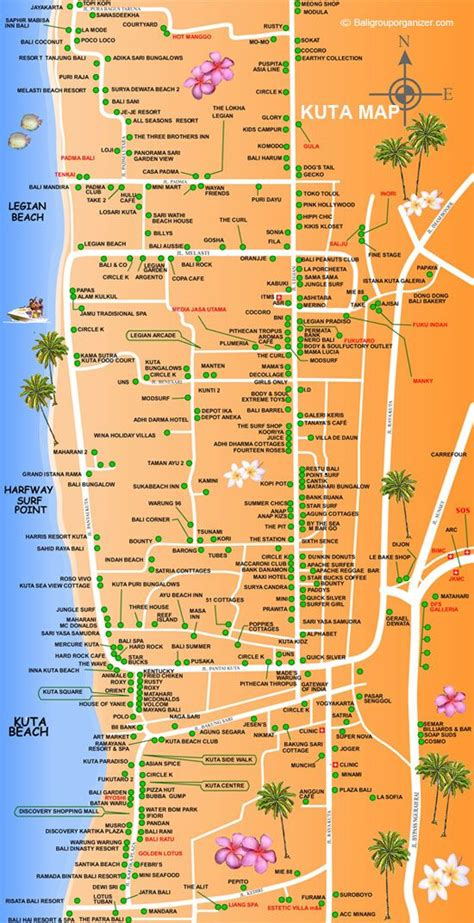 kuta map bali adventures