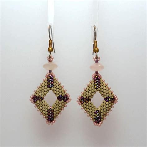 diamond shaped beaded earrings  rose quartz create