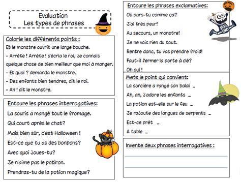 evaluation sur les types de phrases lecole de crevette