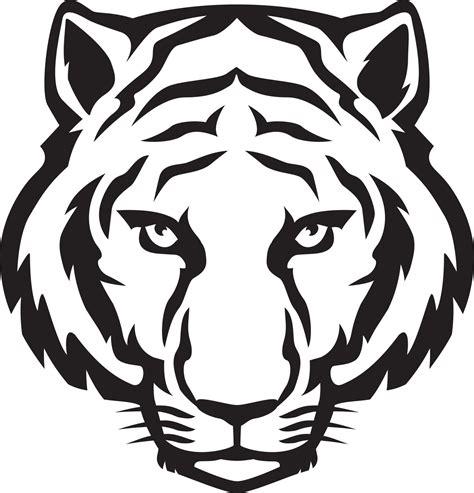 tiger head outline tiger eyes black  white clipart