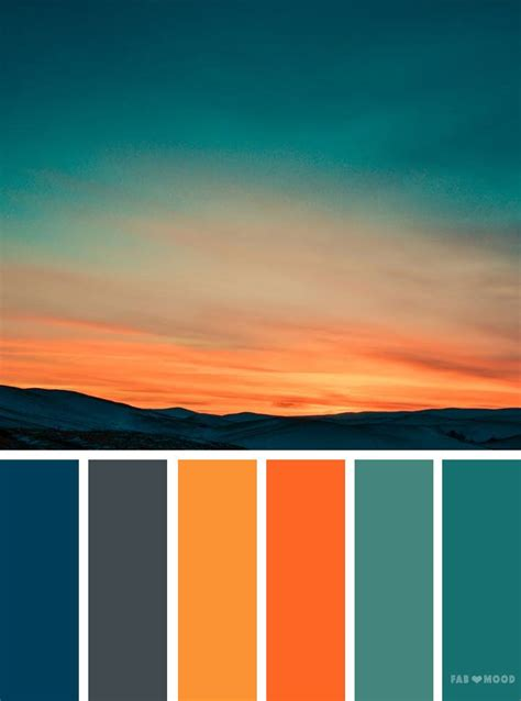 orange teal sky inspired color palette florida color