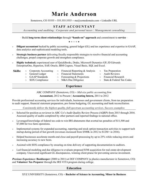 sample staff accountant resumes accounting resume sample monster com