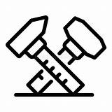 Caliper Icon Outline Vernier Simple Hammer Flat Stainless Steel Symbol sketch template