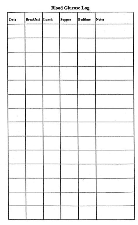 printable blood glucose log blood sugar chart