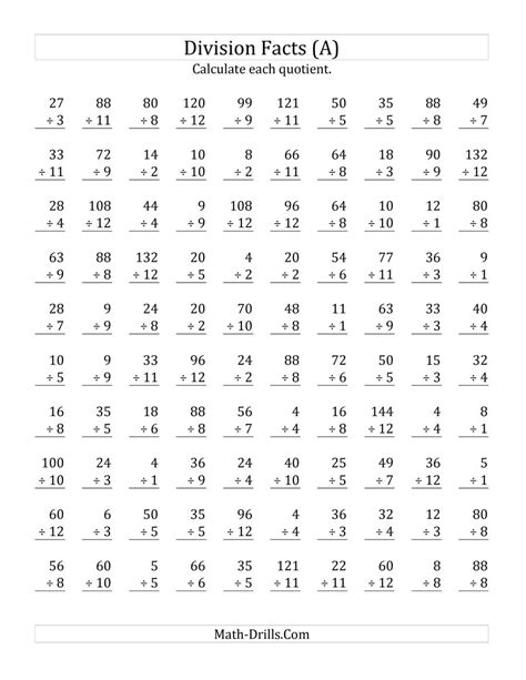 vertically arranged division facts to 144 a