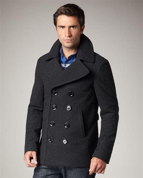 36a9fc06815 1200 x 1500 lyst.com. Lyst - Burberry Brit Short Wool-blend Pea Coat in  Gray for Men