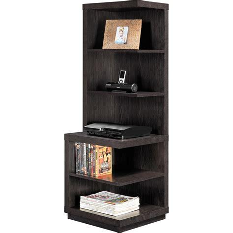 Corner Shelf Bookcase Brown Wood 5 Shelves Book Storage