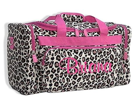 personalized duffle bag leopard cheetah pink dance gym luggage