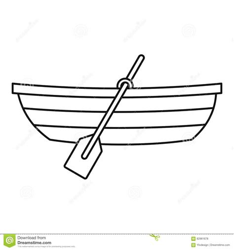 Boat Paddle Outline boat with paddles icon outline style stock vector
