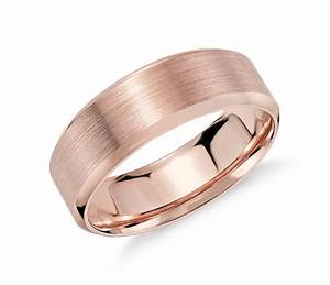 brushed beveled edge wedding ring in 14k rose gold 7mm With brushed beveled edge wedding ring