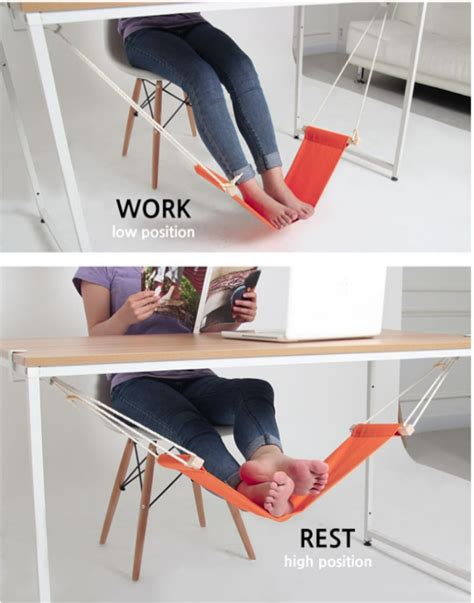 leg rest for desk fuut desk foot rest is a hammock for your feet ohgizmo