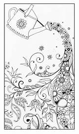Coloring Adult Watering Magical Pages Flowers Adults sketch template