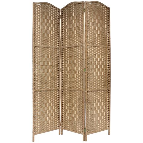 Solid Weave Hand Made Wicker Folding Room Divider