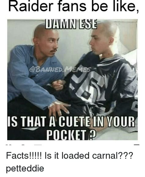 Raiders Fans Memes - raider fans be like ldaminese banned meame5 is that a in you pocket facts is it loaded