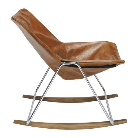 fauteuil  bascule en cuir cognac  maisons du monde