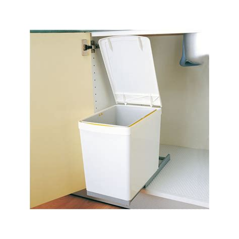 poubelle cuisine encastrable poubelle rectangulaire 1 bac 16l blanc