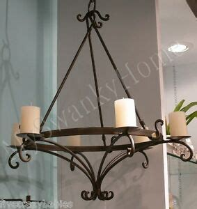 Wrought Iron Hanging Candle Chandelier by Wrought Iron Scroll Pillar Candle Chandelier World