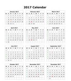 2017 Calendar with Holidays South Africa
