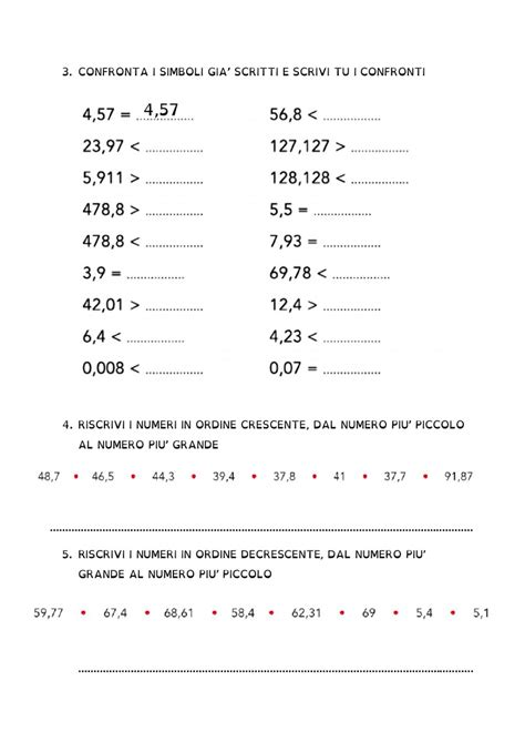 decimali  confronto interactive worksheet