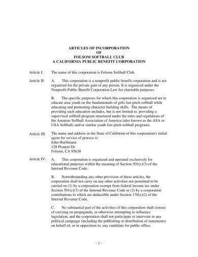 19+ Articles of Incorporation Examples - PDF   Examples