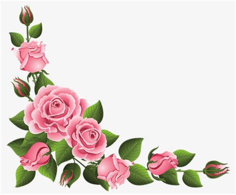 Pink Rose Border, Rose Clipart, Lace, Flowers Png Image