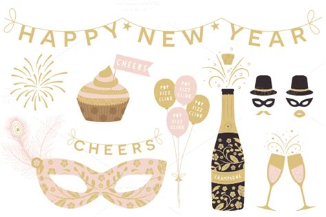 Happy New Year Clipart Assets Creative Market