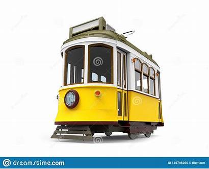 Cartoon Tram Yellow Train Isolated Fashioned Toy