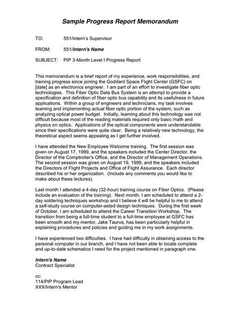 Progress Report Memorandum in Word and Pdf formats