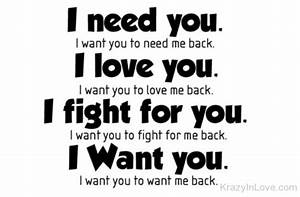 I Need You,Love You,Fight For You And Want You