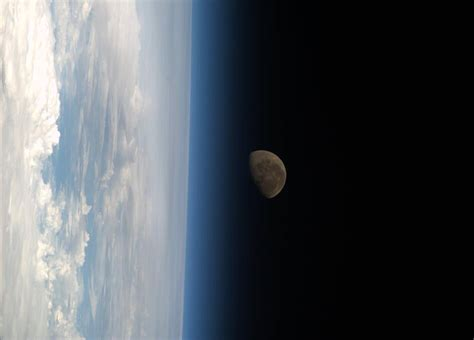 Moon Setting Over Earth As Seen From Iss Spaceref