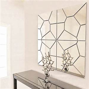 7pcs 2 colors geometry mirror wall sticker moire pattern With best mirror decals for walls