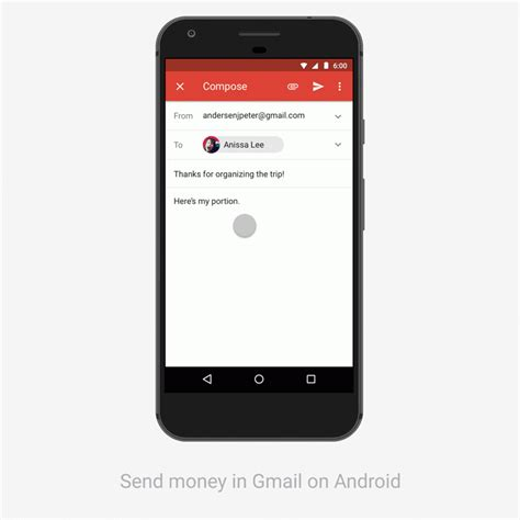 gmail app update how to send receive money on android devices