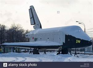 Snow covered dummy of the Soviet space shuttle Buran ...